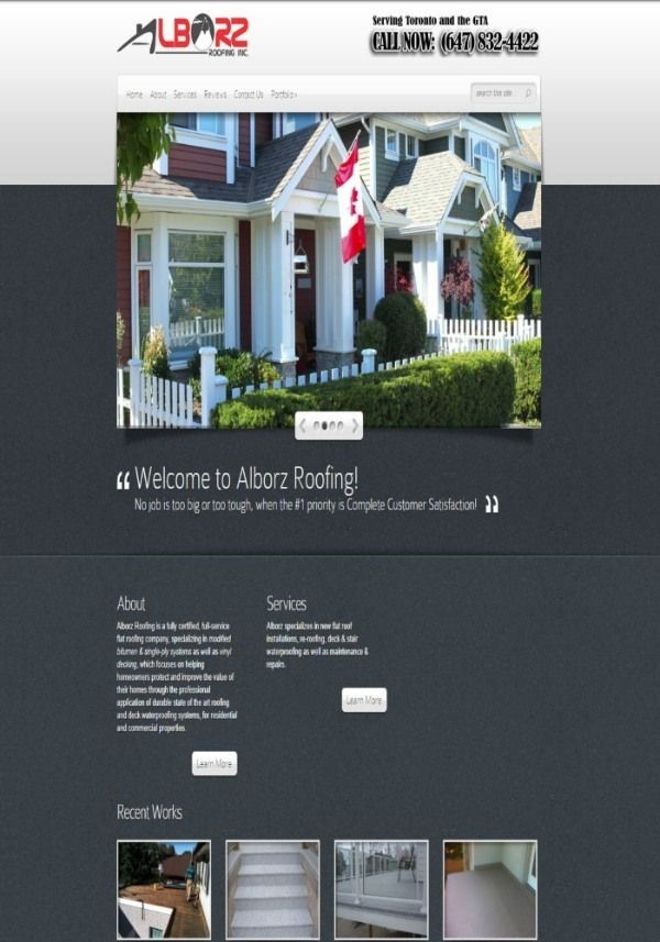 Before Image of Alborz Roofing Website